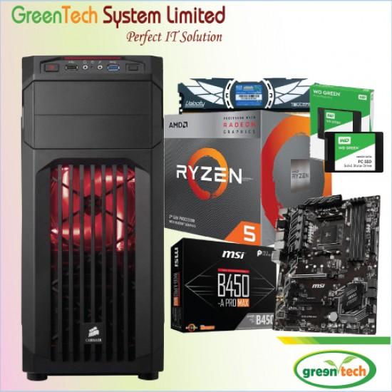 GreenTech- Amd Ryzen 5 3400G Processor PC With 8GB DDR4 RAM & 1TB HDD